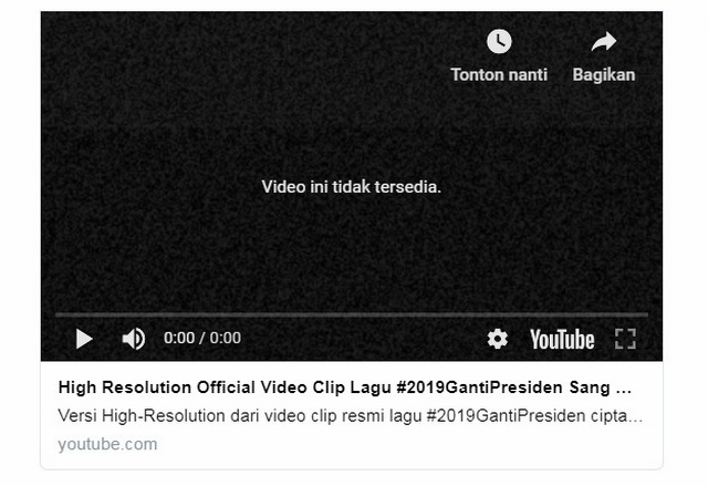 Video Clip Lagu #2019GantiPresiden Tiba-tiba Raib dari Youtube, Sama Lagu Aja Kok Takut?