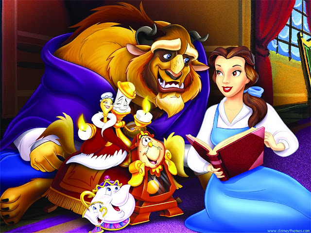 Belle reading to the Beast in Beauty and the Beast