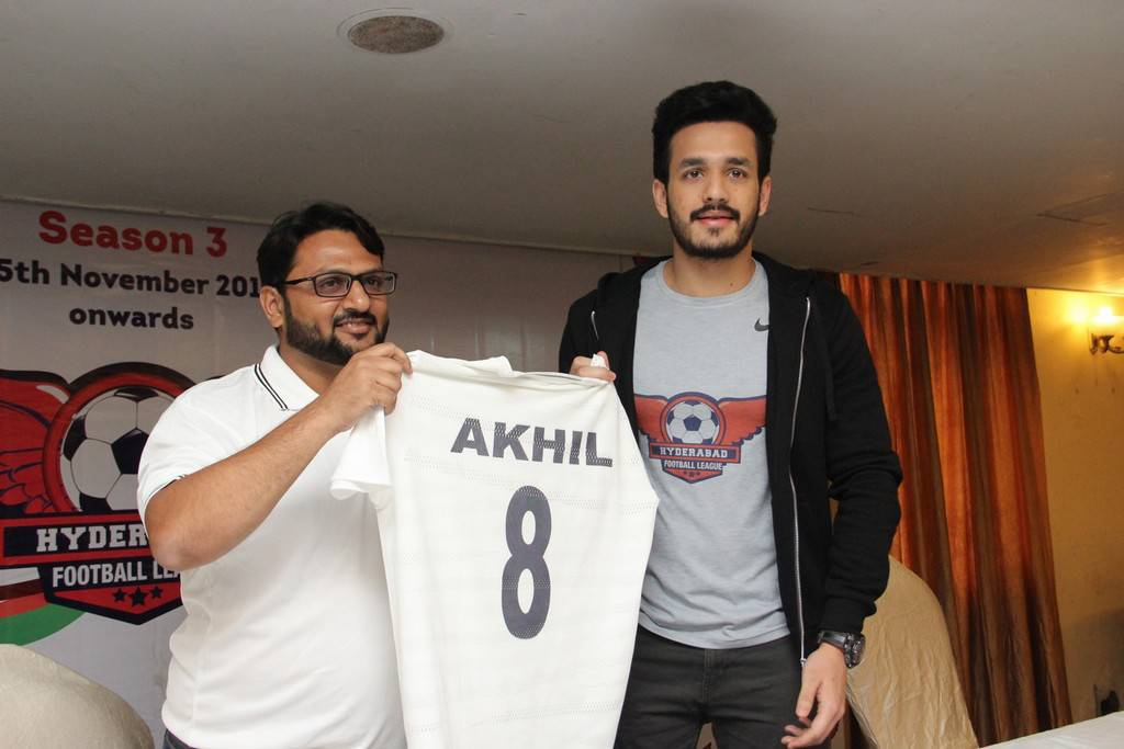 Akhil At Hyderabad Football League 2017 Season 3 Event Stills