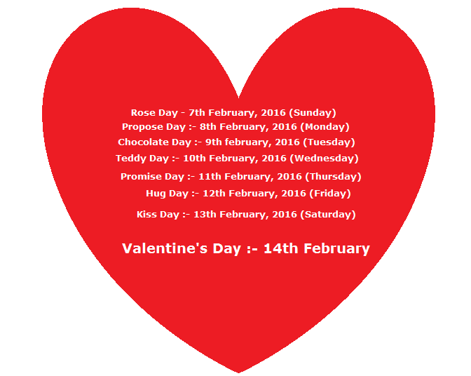 Valentine Week List 2016
