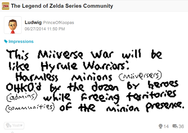 Miiverse War attack on Admins Hyrule Warriors