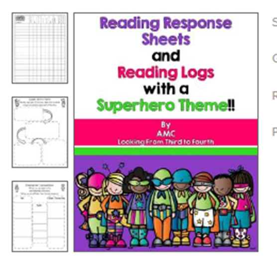 http://www.teacherspayteachers.com/Product/Reading-Response-Activities-and-Reading-Logs-with-a-Superhero-Theme-904072