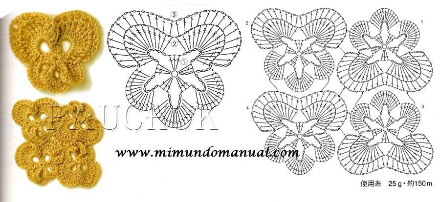 TEJER GANCHILLO CROCHET: Patrón de flores a ganchillo crochet