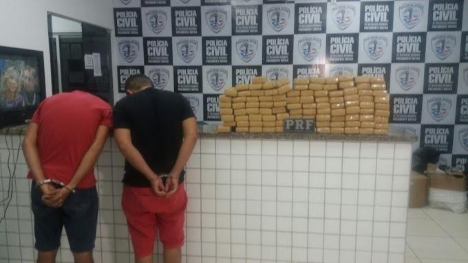 PRF prende dois homens e apreende 100 Kg de maconha no MA