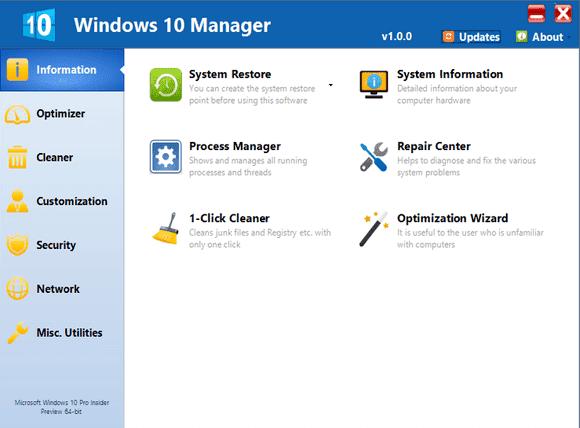 تحميل برنامج Windows 10 Manager لاصلاح و صيانة ويندوز 10