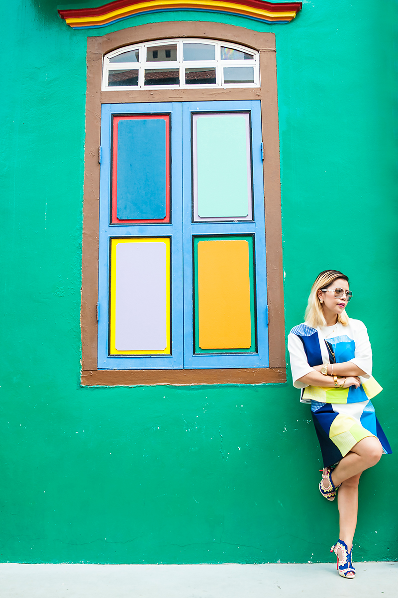 Crystal Phuong- Singapore Fashion Blog- Wearing color block top and skirt from Lie Spring/ Summer 2015 collection