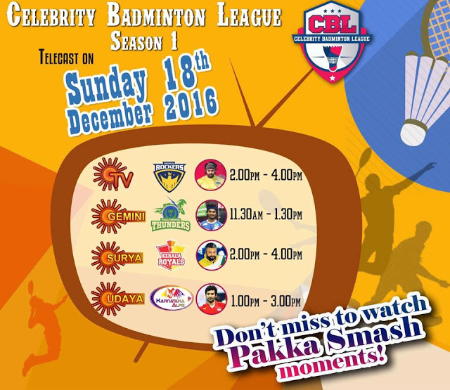 Watch Celebrity Badminton League Season 1 on Surya TV   Surya TV
