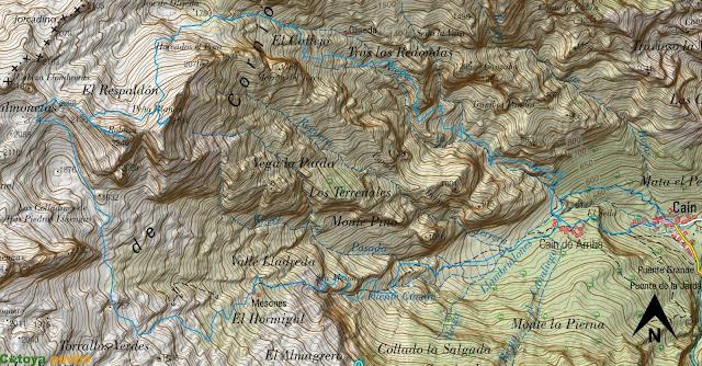 Ruta señalizada a Peña Blanca y la Robliza sobre el mapa ign en Picos de Europa