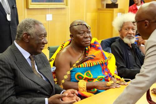Former Ghanaian President John Agyekum Kufuor, Asantehene Otumfuo Osei Tutu II and Prof. Wole Soyinka