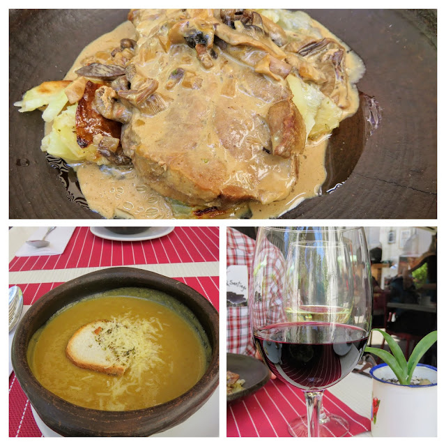 Collage of a 2 course lunch with wine served at Mulato in the Lasterria neighborhood of Santiago Chile