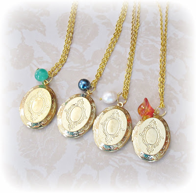 image locket necklaces gold-plated beaded Mr Darcy Jane Austen Pride and Prejudice