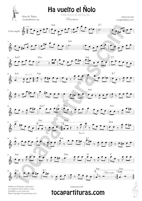 Corno Inglés Partitura de Ha vuelto el Ñolo Sheet Music for English Horn Music Scores