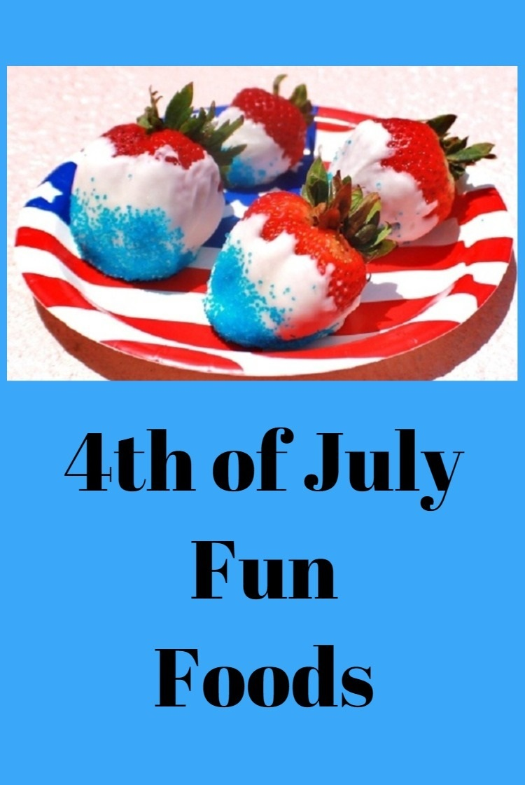 Red White and Blue Appetizers and patriotic recipe ideas  with white chocolate dipped strawberries with blue sugar  for the 4th of July or Memorial Day Parties