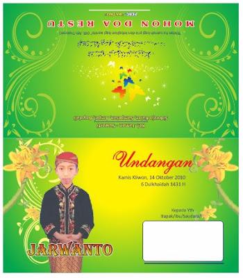 Download Contoh Undangan Sunatan Warna Hijau Kuning Solusi Cetak