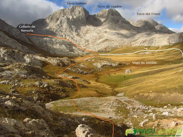 Vista de la Torre Salinas, Liordes y Friero desde la entrada a los Tornos
