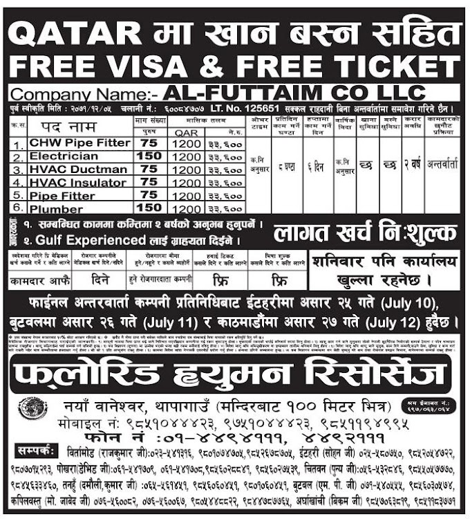 FREE VISA FREE TICKET, Free Charge Job Vacancy in Qatar