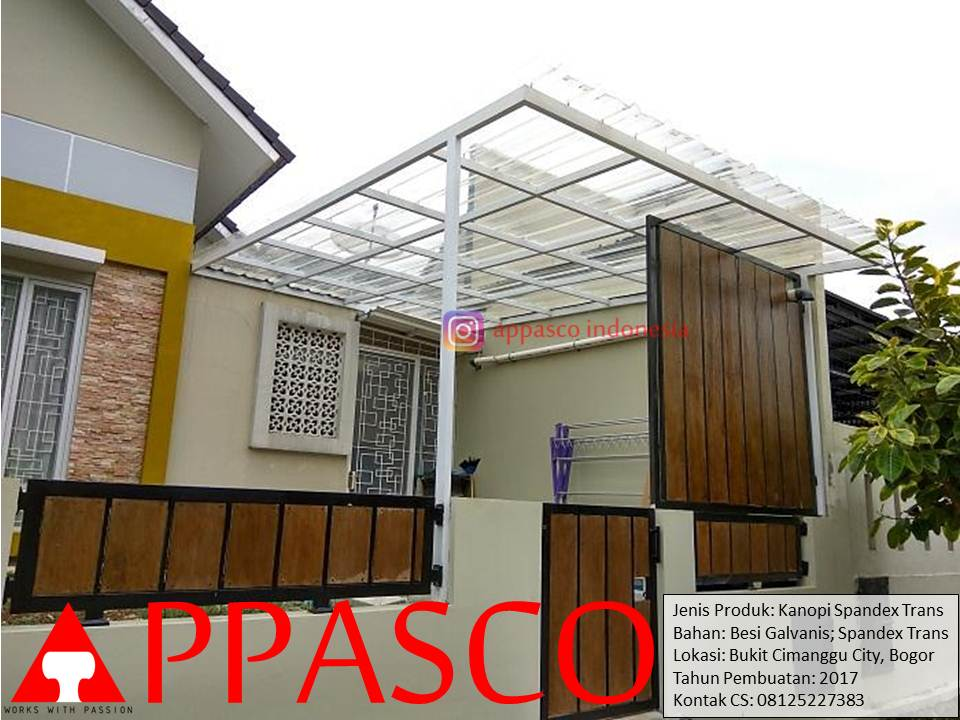 Kanopi Spandek Model Minimalis Modern di Cimanggu City Bogor