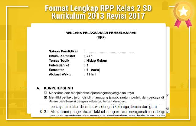 Format Lengkap RPP Kelas 2 SD Kurikulum 2013 Revisi 2017