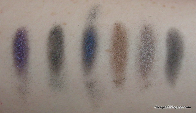 Swatches of Urban Decay Dangerous Palette: Gravity, Loaded, Evidence, Deeper, Mushroom, Ace