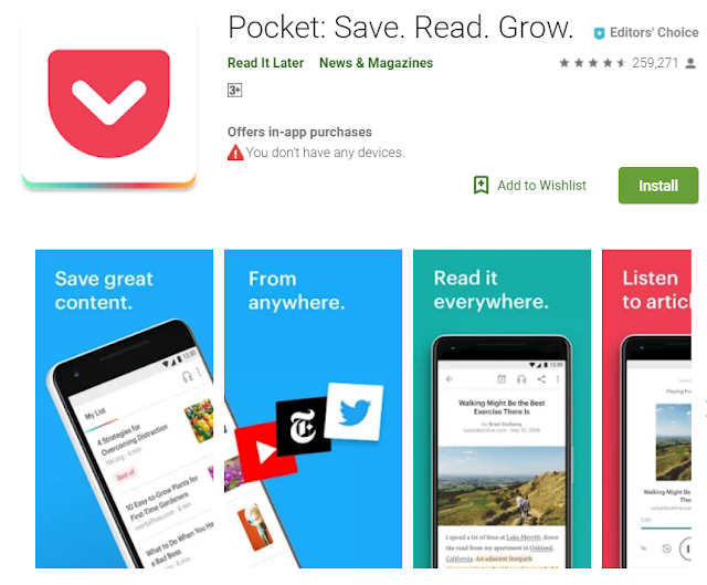 pocket is an android app for blogger helps to understand