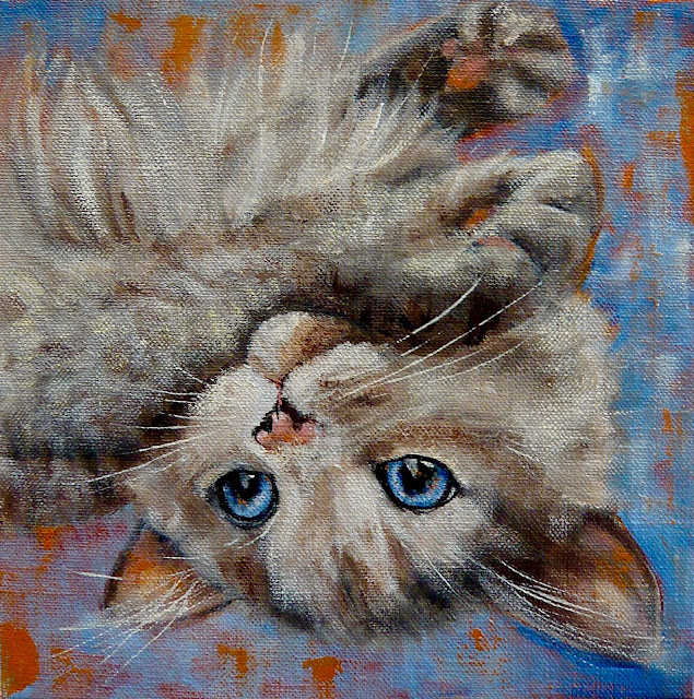 oil painting of a rag doll cat