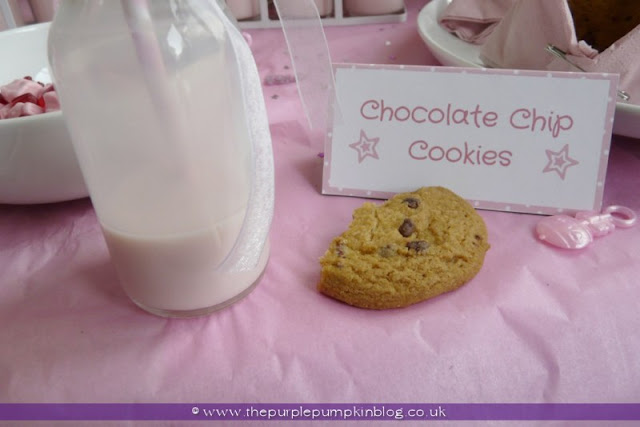 Strawberry Milk & Chocolate Chip Cookies for a Baby Shower at The Purple Pumpkin Blog