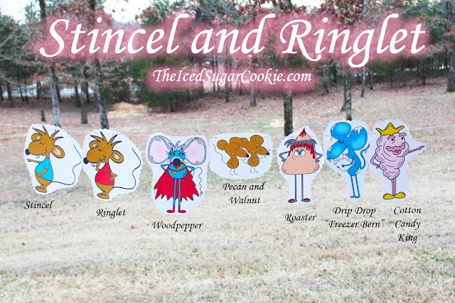 Stincel And Ringlet Birthday Party Flag Hanging Banner DIY Idea-Woodpepper, Pecan, Walnut, Roaster, Drip Drop Freezer Bern, Cotton Candy King