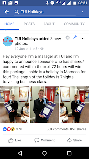 Facebook TUI Scam Holiday Competition