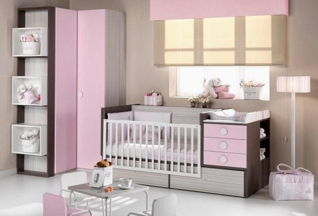 cuarto bebé rosa marrón