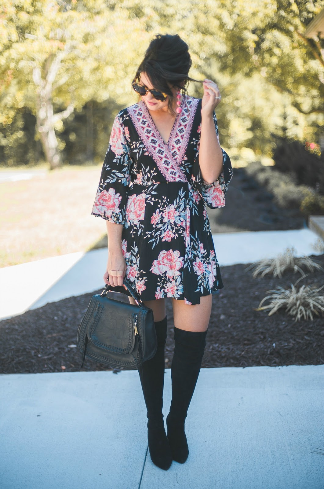 over the knee boots, goodnight macaroon, rebecca minkoff vanity bag, over the knee boots outfit
