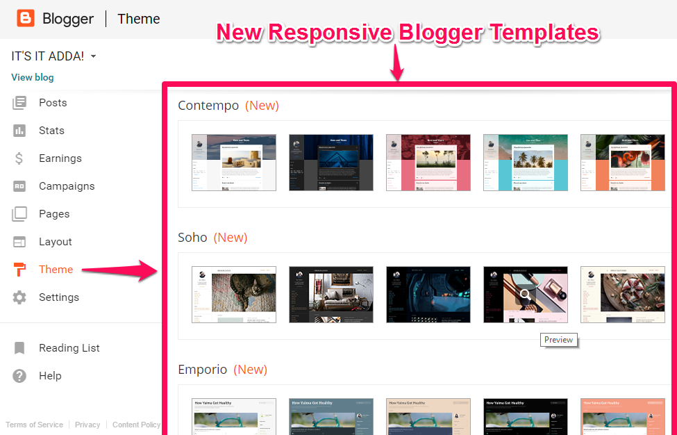 Blogger Came up with 20 New Variants of Responsive Blogger Themes ...