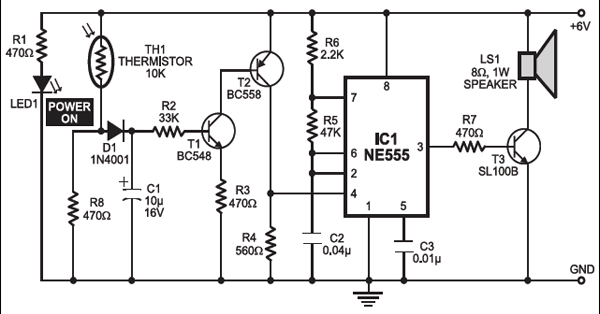 Fire Alarm Circuit Diagram Using Thermistor And 555 Timer Ic