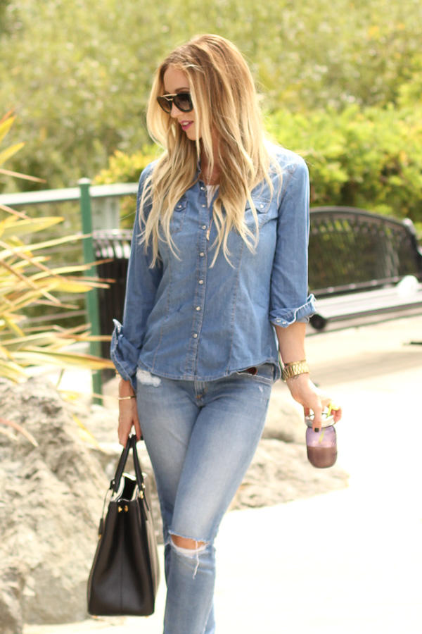 denim top rolled sleeves