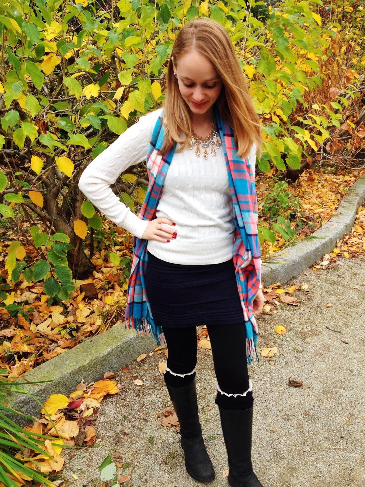 rocksbox statement necklace lauren hope plaid scarf legwarmers
