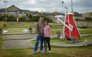 Photo of Richard and Emily Gottfried at the Arnold Palmer Crazy Golf course in Prestatyn, Wales