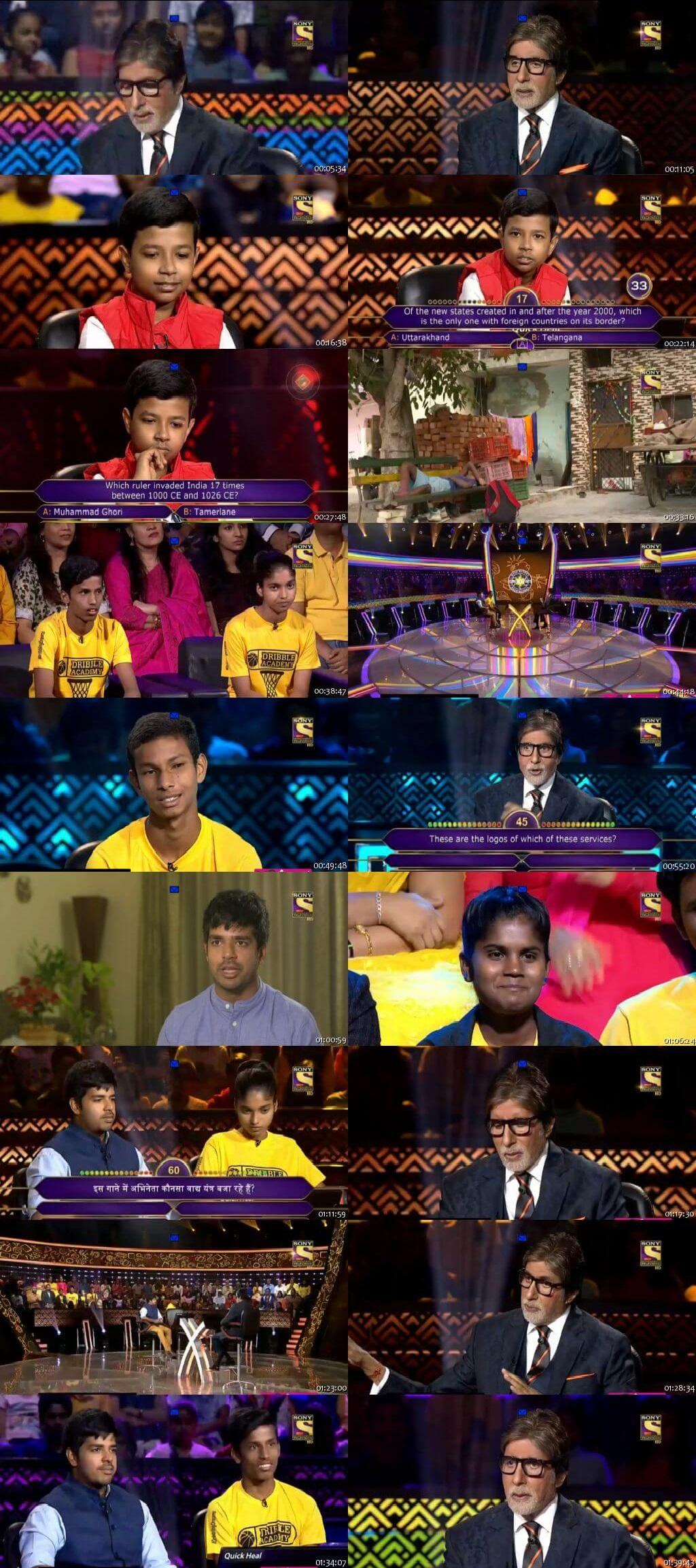 Screenshots Of Hindi Show Kaun Banega Crorepati Season 10 2018 16th November 300MB 480P HD