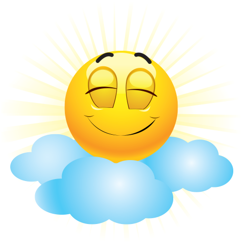 Emoticon on sunny sky