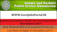 Jammu and Kashmir Public Service Commission Recruitment 2017– 640 Lecturer, Medical Officer & Assistant Professor