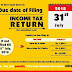 FY 2017-18 DUE DATES OF FILING INCOME TAX RETURN