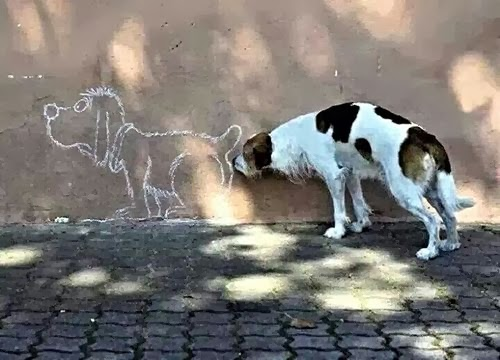 Funny Dog Sniffing Drawing Butt Backside Joke Picture