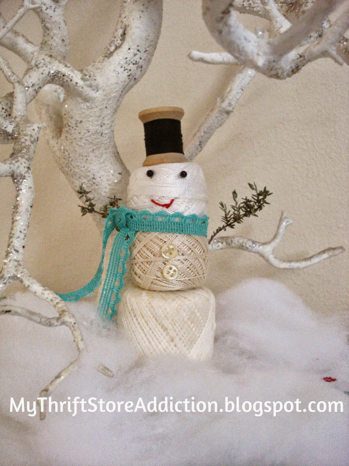 Vintage thread spool snowman