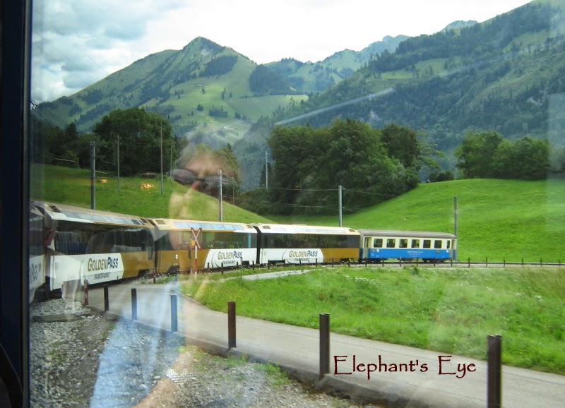 Train on the Golden Pass from Zweisimmen to Montreux