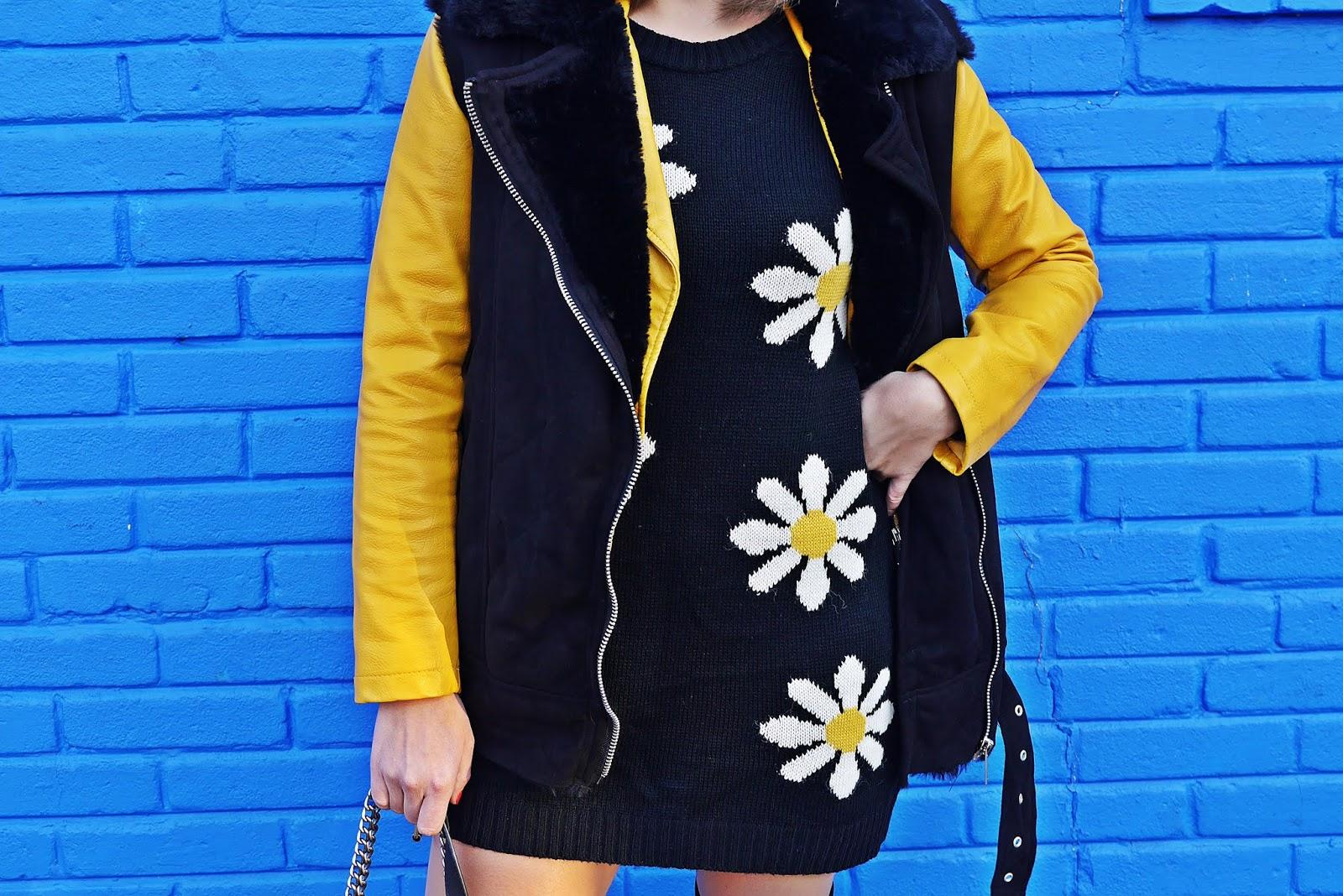 Musztardowa ramoneska sukienka w stokrotki karyn blog modowy