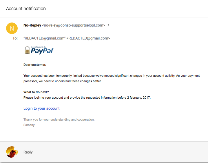 What Is My Paypal Email >> Responding To A Paypal Phishing Attempt Luke Gj Potter Presents