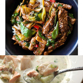 Steak stirfry with rice and spoon in a bowl of seafood chowder