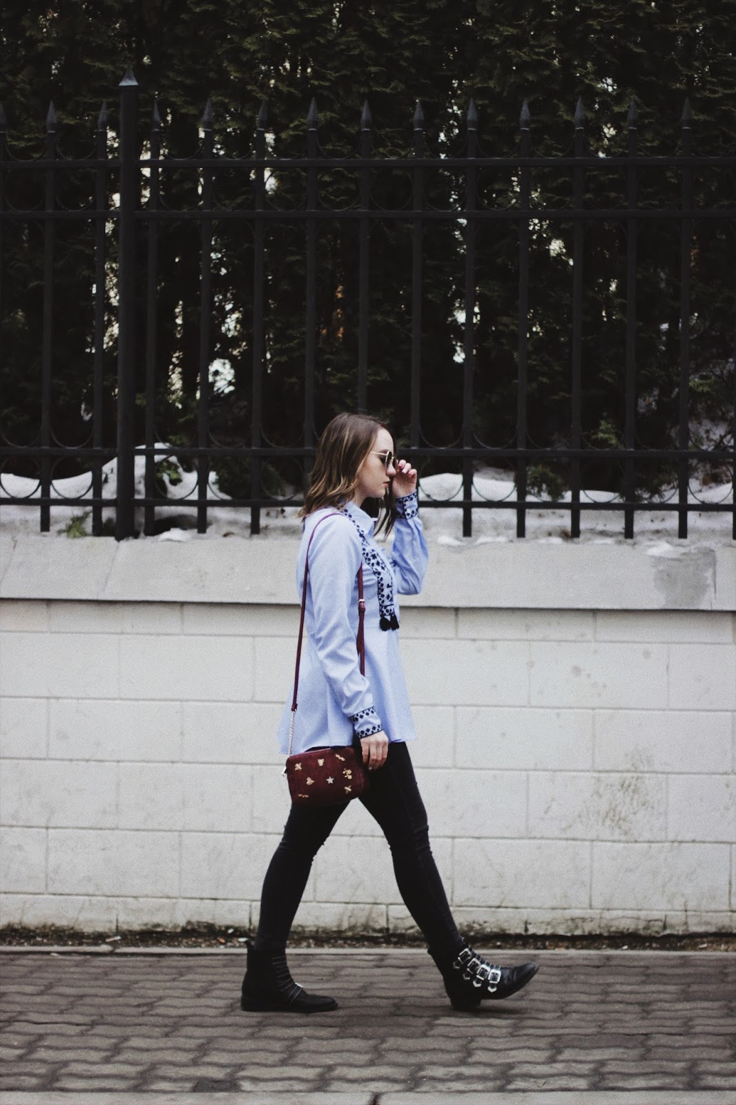Blue Embroidery Shirt | Street Style | Spring 2018