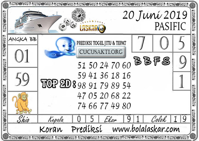 Prediksi Togel PASIFIC LASKAR4D 20 JUNI 2019