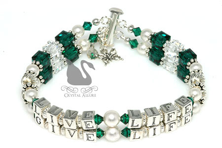 Kathi's Custom Live Life Give Life Transplant Awareness Bracelet (B113-v6) by Crystal Allure Beaded Jewelry Creations