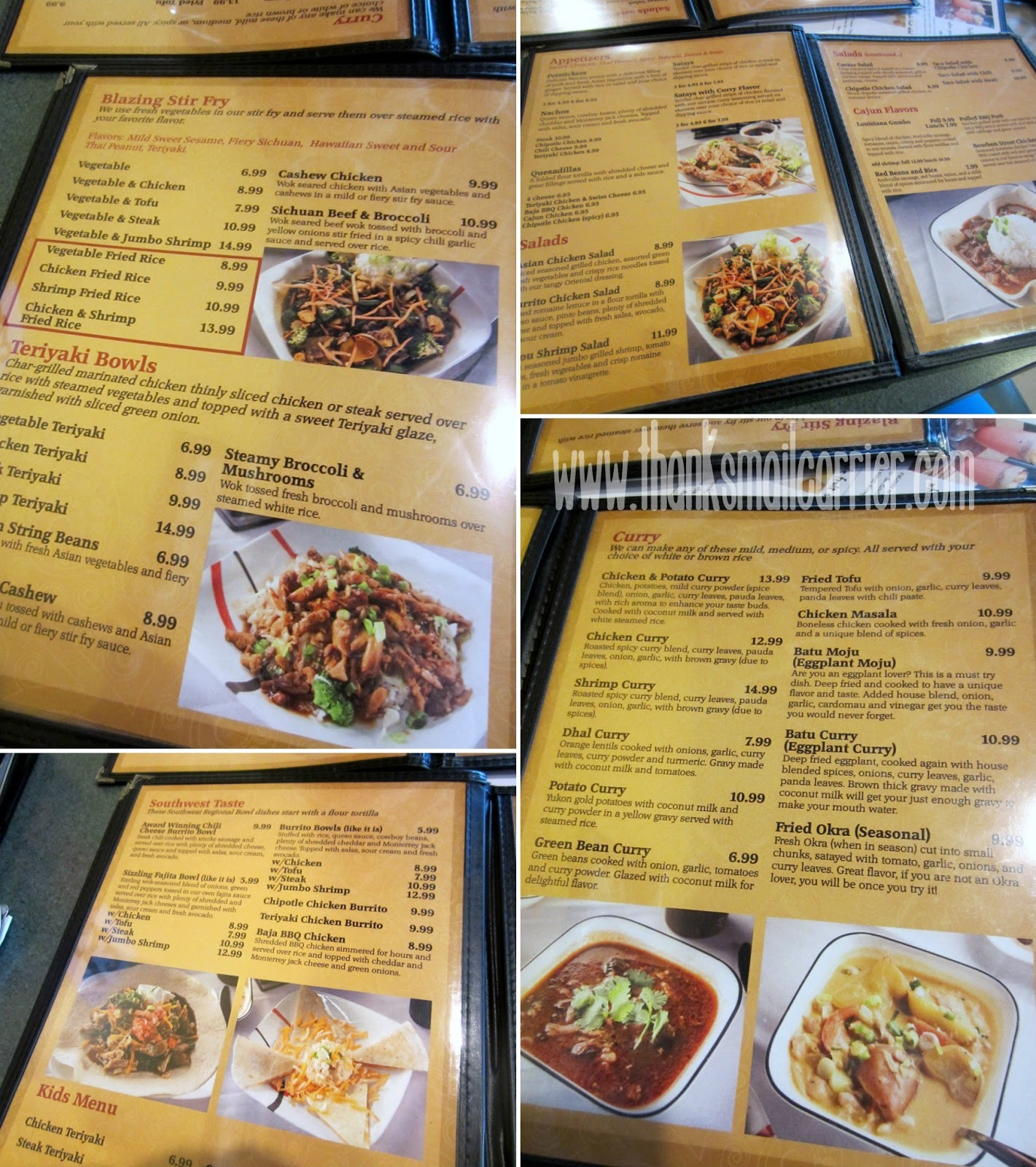 KJ's Curry Bowl menu