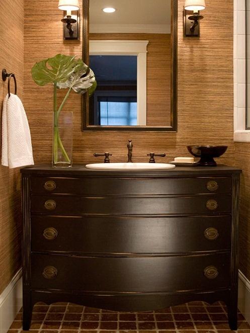 Simple Details: dresser as bathroom vanity...